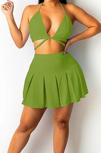 Green Serxy Sling Halter Neck Strapless Fashion Skirts Sets SZS8080-5