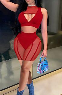 Red Summer Net Yarn Spliced Strapless Sleeveless Fashion Sexy Two Piece SZS8091-2