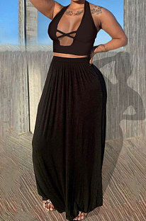 Black Euramerican Women Pure Color Loose Sexy Top Skirts Sets JR3637-1