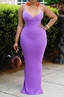 Violet Summer Fashion Pure Color Sexy Sling Backless Long Dress ZQ8108-3