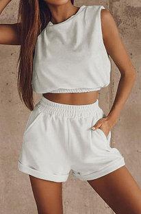 White Women Trendy Sport Casual Pure Color Vest Shorts Sets ML7446-2