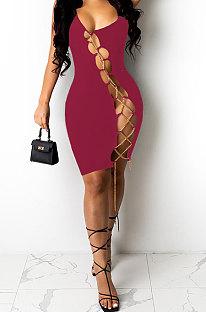 Wine Red Women Sexy Condole Belt Chain Cross Mini Dress MA6704-4