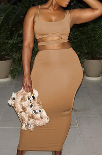 Brown Fashion Pure Color Hole Random Backless Tank Long Skirts Two Piece LSZ91173-1