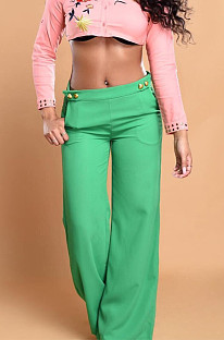 Green Casual personality Or So Symmetry Four Grain Buckle Flare Long Pants Have Pocket LS6026-1