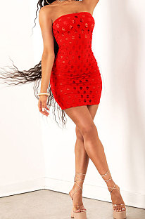 Red Women Sexy Hollow Out Boob Tube Top Mini Dress JR3634-5