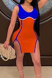 Orange Women Digital Printing Contrast Color Strapless Zipper Open Fork Mini Dress SZS8122-4