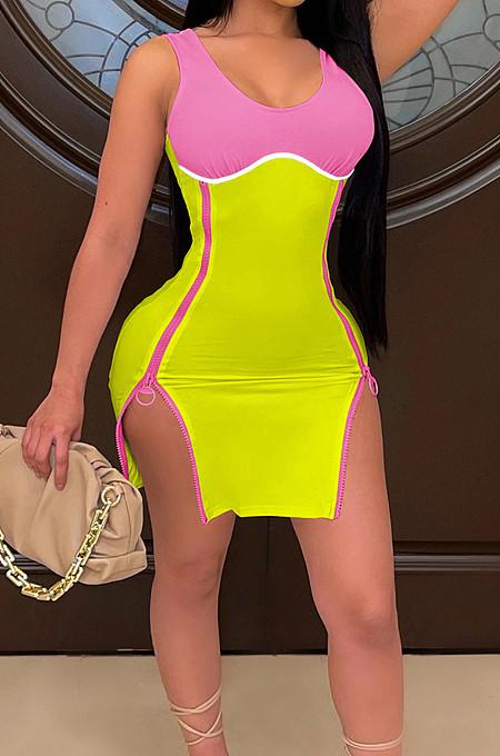 Yellow Women Digital Printing Contrast Color Strapless Zipper Open Fork Mini Dress SZS8122-2