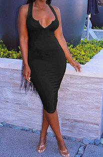 Black Women Trendy Pure Color Sexy Mini Dress MA6710-1