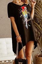 Black Euramerican Women Fashion Casual Loose Printing Irregularity Mini Dress ML7445-1