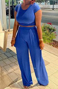 Blue Women Pit Bar Pure Color Casual Pants Sets JR3635-1