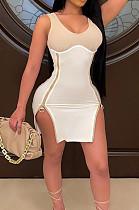 Khaki Women Digital Printing Contrast Color Strapless Zipper Open Fork Mini Dress SZS8122-1