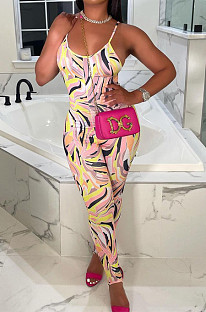 Colorful Fashion Sexy Printing Sling Jumpsuits YZL852