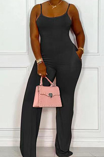 Black Night Club Sexy Pure Color Loose Sling Jumpsuits QSS51025-2