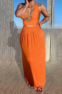 Orange Euramerican Women Pure Color Loose Sexy Top Skirts Sets JR3637-2