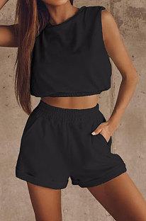 Black Women Trendy Sport Casual Pure Color Vest Shorts Sets ML7446-1
