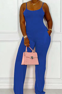 Dark Blue Night Club Sexy Pure Color Loose Sling Jumpsuits QSS51025-5