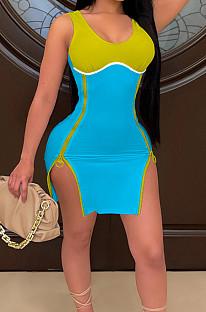 Lake Blue Women Digital Printing Contrast Color Strapless Zipper Open Fork Mini Dress SZS8122-5