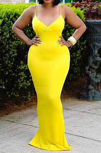 Yellow Summer Fashion Pure Color Sexy Sling Backless Long Dress ZQ8108-1