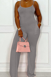 Grey Night Club Sexy Pure Color Loose Sling Jumpsuits QSS51025-1