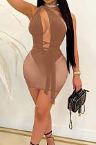 Khaki Euramerican Sexy Net Yarn Perspctive Slim Fitting Dress A8609-2