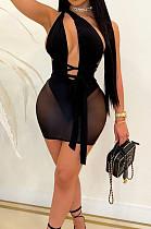 Black Euramerican Sexy Net Yarn Perspctive Slim Fitting Dress A8609-1