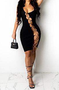 Black Women Sexy Condole Belt Chain Cross Mini Dress MA6704-2