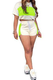 Neon Green Fashion Spliced Casual Hoodies Shorts Sets ML7220-5