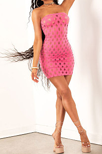 Pink Women Sexy Hollow Out Boob Tube Top Mini Dress JR3634-1