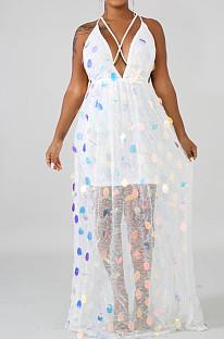 White Fashion Backless Bind Sequins Sesy Long Dress LA3147-2