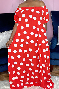 Red Chiffon Wave Point Printing Bohemia A Word Shoulder Beach Loose Long Dress Have Pocket QY5077-2
