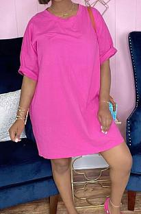 Pink Red Fashion Loose T Shirt Slim Fitting Short Dress TD80056