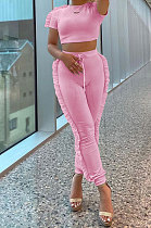 Pink Women Pure Color Casual Cute Agaric Edge Pants Sets AMW8325-2