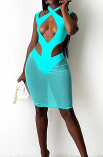 Lake Blue Halter Neck Strapless Hollow Out Net Yarn Spliced Fashion Dress SZS8097-1