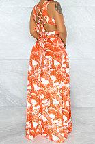 Orange Printing Temperament Simple Giant Swing Plus Long Dress YF1612-4
