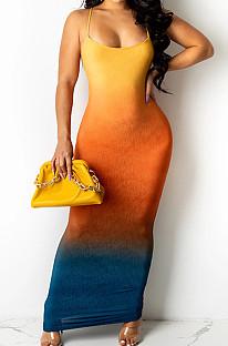 Light Orange Sexy Digital Gradient Sling Back Cross Fashion Dress SZS8098-1