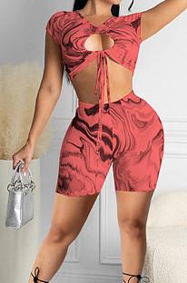 Red Digital Printing Strapless Tie A Knot Dew Waist Sexy Fashion Two Piece SZS8103-2