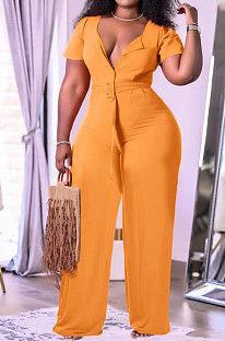 Orange Fashion Women Loose Casual Puff Sleeve Wide Leg Jumpsuits TK6191-1