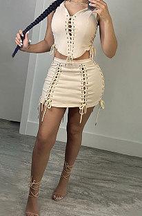 Euramerican Women Bandage Eyelet Casual Sexy Skirts Sets MY9919
