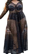Sequins SlimFitting Pure Color Plus Long Dress NoUnderwear YF1596