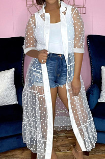White Fashion Wave Point Net Yarn Short Sleeve Coat Dress QY5076-1
