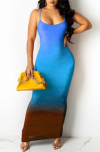 Light Blue Sexy Digital Gradient Sling Back Cross Fashion Dress SZS8098-2