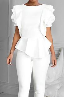 White Summer Maiden Wind Flounce Hem Spliced Short Sleeve Tops QY5073-4