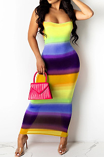Yellow Digiral Printing Contrast Color Sexy Sling Back Cross Bodycon Dress SZS8108-2