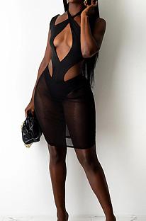 Black Halter Neck Strapless Hollow Out Net Yarn Spliced Fashion Dress SZS8097-4