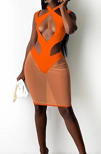 Orange Halter Neck Strapless Hollow Out Net Yarn Spliced Fashion Dress SZS8097-2