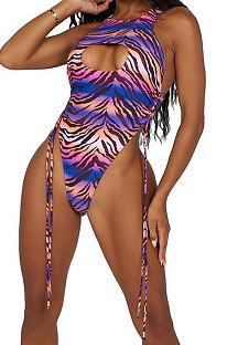 Gradient Ramp Women Printing Stripe Sexy Bikini One Piece Swimsuits AMW8321-1