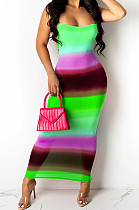 Neon Green Digiral Printing Contrast Color Sexy Sling Back Cross Bodycon Dress SZS8108-3