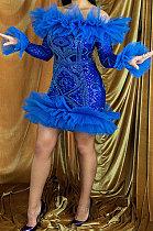 Bead Piece Pure Color Mid Waist Mini Dress YF9070