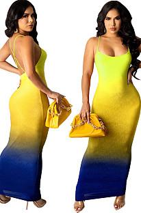 Light Yellow Sexy Digital Gradient Sling Back Cross Fashion Dress SZS8098-3