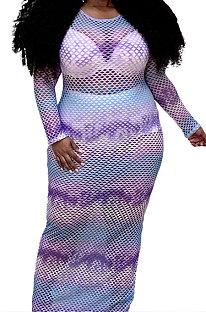 Purple Round Neck Mesh Spaghetti Long Sleeve Plus Long Dress YF1594-1
